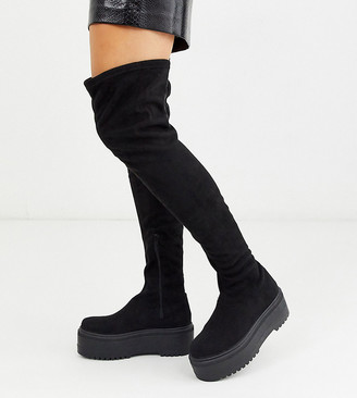 Asos Design DESIGN Wide Fit Katie chunky thigh high boots in black