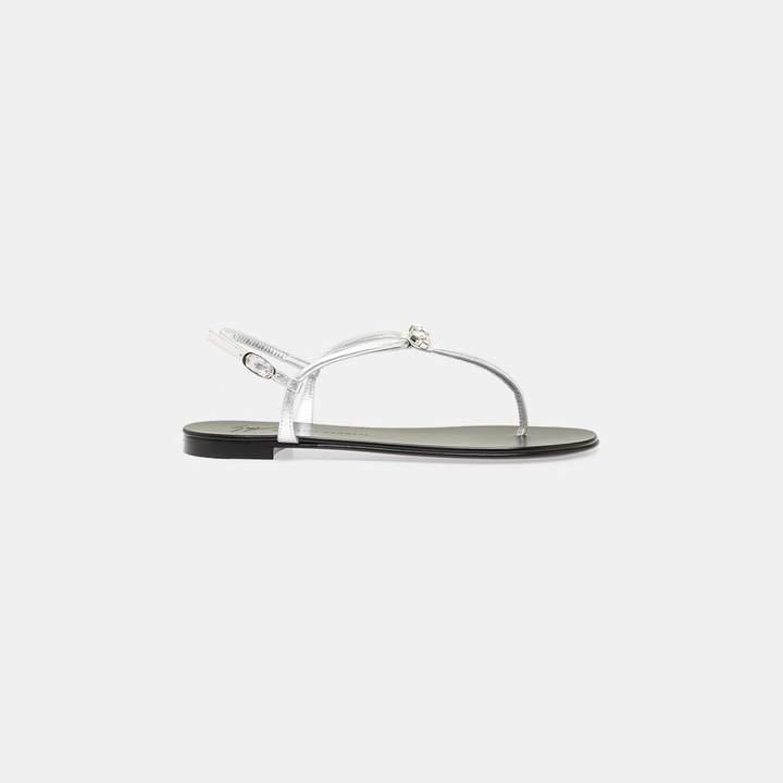 Giuseppe Zanotti Crystal Metallic Leather Bow Sandal