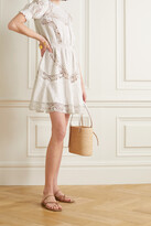 Thumbnail for your product : MICHAEL Michael Kors Crochet-trimmed Embroidered Hemp Mini Dress - White