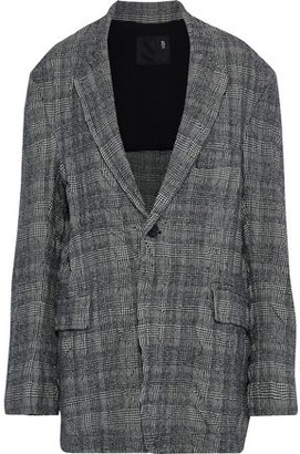 R 13 Oversized Prince Of Wales Checked Crinkled Wool And Cotton-blend Blazer