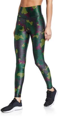 Terez High Rise Green Camo Stripe Leggings