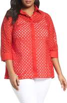 Foxcroft Plus Size Women's Eyelet Cotton Tunic