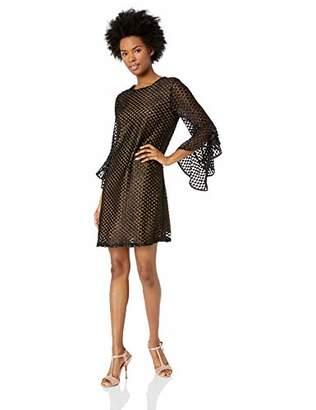 Miss Me Junior's Velvet Polkadot Ruffle Sleeve Dress