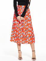 Warehouse Floating Floral Pleated Skirt - Orange