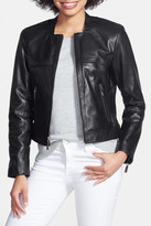 Vince Camuto Collarless Genuine Leather Jacket