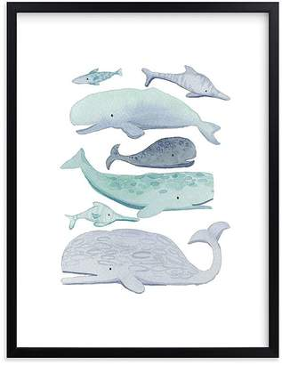 Pottery Barn Kids Blue Whales Wall Art by Minted®, 8x10, Black