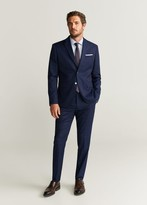 MANGO MAN - Slim fit check suit blazer indigo blue - 38 - Men
