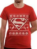 Superman Men's Fair Isle Logo Short Sleeve T-Shirt