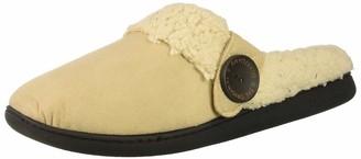 Dearfoams Women's Microsuede Clog with Button Tab Slipper Latte XL Regular US