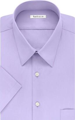 """Van Heusen Men's Dress Shirts Short Sleeve Poplin Solid Grey 14.5"""" Neck"""