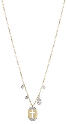 Meira T Brushed 14K Yellow Gold Pave Diamond Cross Oval Pendant Necklace