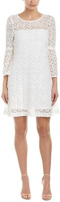 Sandra Darren Women's 1 Pc 3/4 Bell Sleeve Crochect Lace A-line Dress