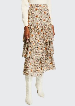 Veronica Beard Shailene Tiered Midi Skirt