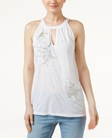 INC International Concepts Petite Embroidered Keyhole Top, Created for Macy's