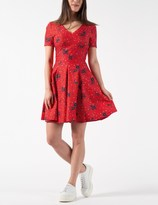 Band Of Outsiders Red SS Fitted Mini Dress With Full Skirt