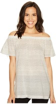 TWO by Vince Camuto - Off the Shoulder Delicate Etching Side Slit Tunic Women's Short Sleeve Pullover