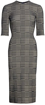 Oscar de la Renta Short-Sleeve Plaid Sheath Dress