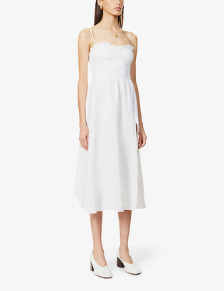 Reformation Prune frill-trim linen midi dress