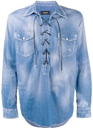 DSQUARED2 Lace-Up Denim Shirt