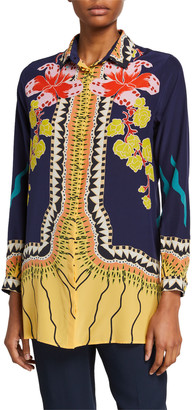 Etro Garden of Eden Silk Button-Front Tunic