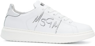MSGM Spray-Effect Logo Low-Top Sneakers