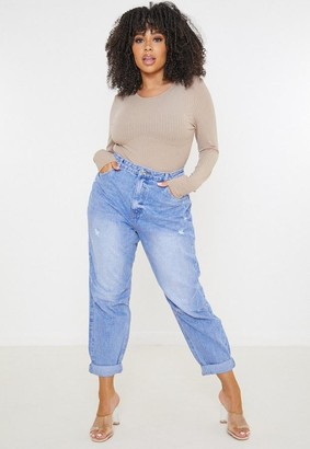 Missguided Size Blue Knee Seam Tapered Jeans