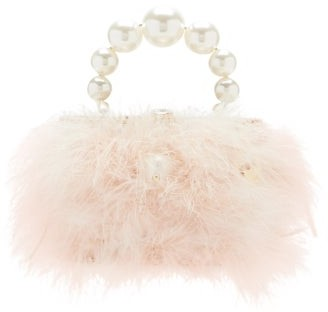Rosantica Nuvola Faux-pearl Handle Marabou-feather Bag - Light Pink