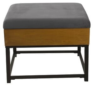 HomePop Wood and Metal Upholstered Storage Ottoman
