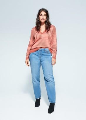 MANGO Violeta BY Striped knit sweater orange - S - Plus sizes