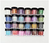 XICHEN 24 Color Glitter Powder Dust Nail Art glitter powder Tips decoration Jumbo Size