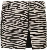 Filles a papa zebra print mini skirt - women - Cotton/Calf Leather - 3