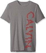 Calvin Klein Men's Short Sleeve Mesh Split Logo Print Crew Neck T-Shirt