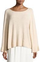 Elizabeth and James Freja Wool-Blend Flutter-Sleeve Sweater, Champagne