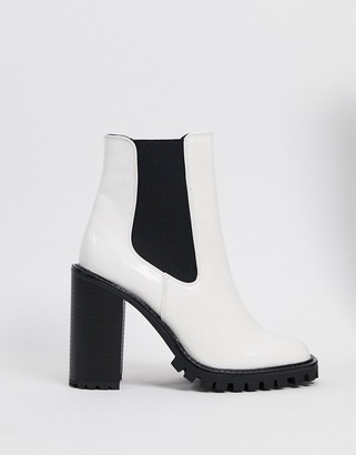 ASOS DESIGN Expect high heeled chunky chelsea boots in white