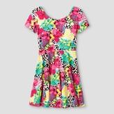 Say What Girls' Bold Floral Skater Dress - Pink