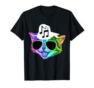 Funny Colorful Rainbow DJ Music Kitty Feline Cat Lover Gift T-Shirt