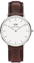 Daniel Wellington Classic Bristol Stainless Steel and Leather Strap Watch, 36mm