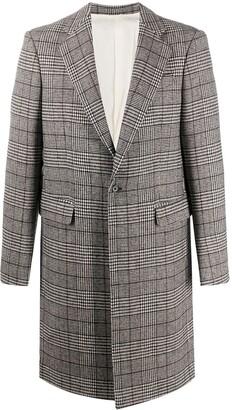 Raf Simons Plaid-Check Single-Breasted Coat
