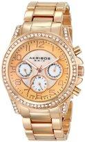 Akribos XXIV Women's AK683RG Ultimate Swiss Quartz Multifunction Crystal Mother-of-Pearl Rose-tone Bracelet Watch