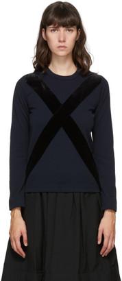 Comme des Garçons Comme des Garçons Navy Velvet Cross Long Sleeve T-Shirt