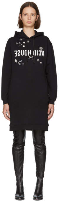 McQ Black Acid House Boyfriend Hoodie Dress