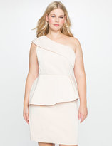 ELOQUII Plus Size One Shoulder Peplum Dress
