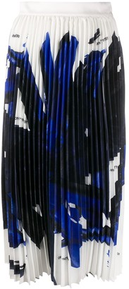 Off-White Brushstroke Pleated Midi Skirt