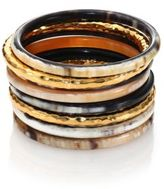 Nest Hammered Horn Bangle Bracelet Set