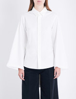 Miharayasuhiro Pleated-back cotton-poplin shirt