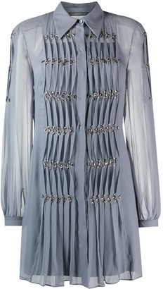 Alberta Ferretti Pleated Gem-Embellished Dress