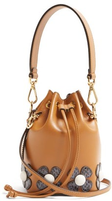 Fendi Mon Tresor Flower-applique Cross-body Bag - Womens - Tan Multi