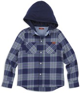 7 For All Mankind Boys' Plaid Hooded Flannel Shirt