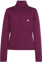 See by Chloe Appliquéd stretch cotton-blend turtleneck sweater