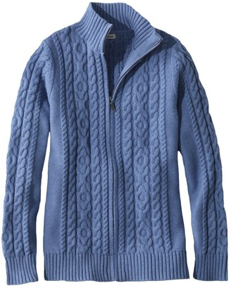 L.L. Bean Women's Double LA Mixed-Cable Sweater, Zip-Front Cardigan